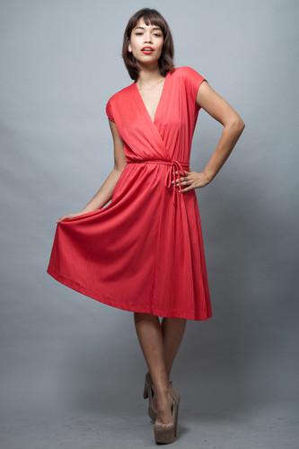 vintage 70s dress asymmetrical faux wrap red metallic ONE SIZE  :