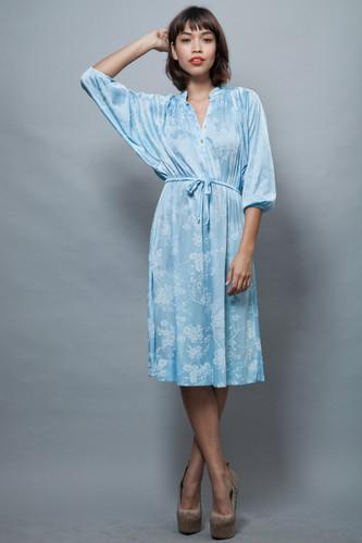 vintage 70s dress batwing sleeves light blue floral ONE SIZE  ;