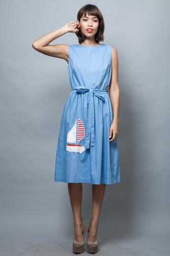 vintage 60s wrap dress blue chambray cotton sailboat applique M L