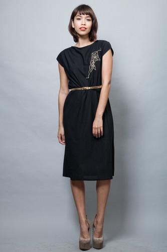 vintage 70s little black dress LBD gold embroidery belt M L