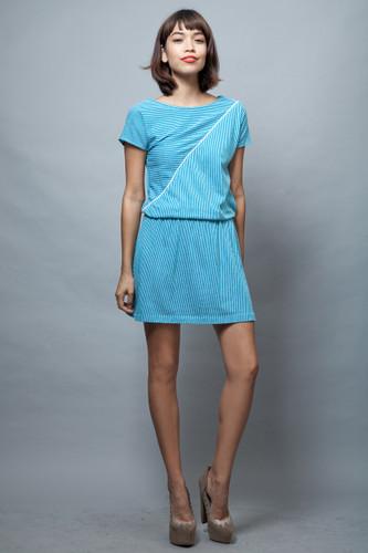 mini dress vintage 80s sports tennis stripes blue white ONE SIZE