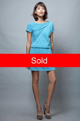 mini dress vintage 80s sports tennis stripes blue white ONE SIZE  :