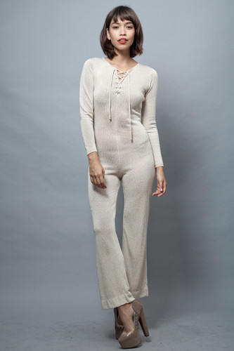 vintage 60s knit jumpsuit bodycon textured champagne lacing long sleeves PETITES