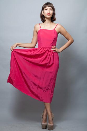 vintage 70s sun dress pink fuschia shoulder straps midi XS S