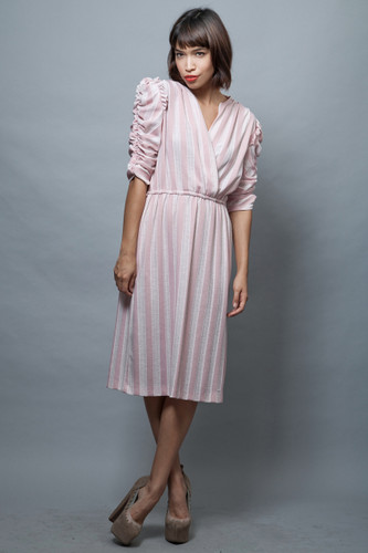 vintage 70s dress pink stripes gathered ruched sleeves ruffles ONE SIZE