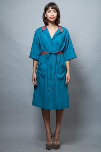 vintage 70s coat dress blue red pockets gold bottons M L