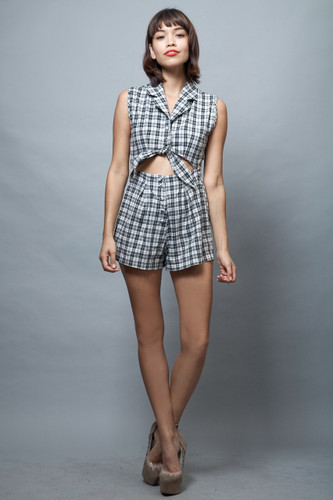 vintage 80s romper shorts black white plaid cutout cotton S