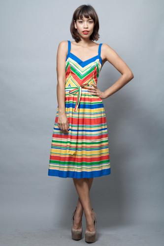 vintage 1970s sun dress colorful stripes pleated skirt M