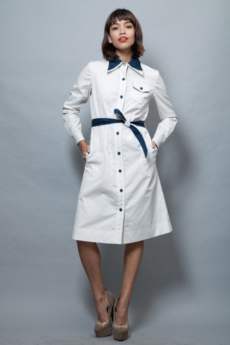 vintage 70s coat dress white navy double collar belted M