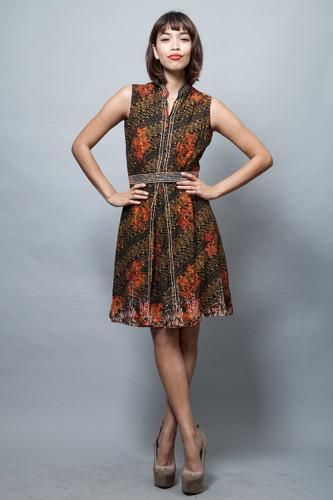 vintage 60s dress cotton batik black orange sleeveless M