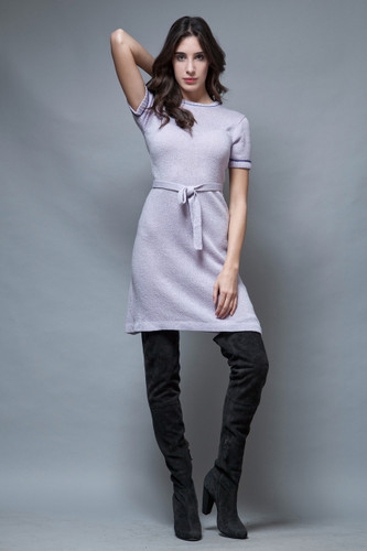 vintage 70s sweater dress Pierre Balmain lavender purple belt S M