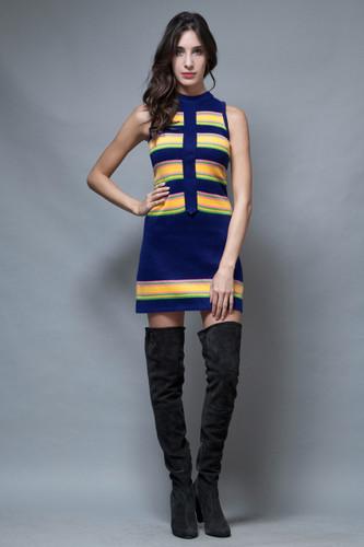 vintage 60s MOD sweater mini dress stripes navy yellow XS S