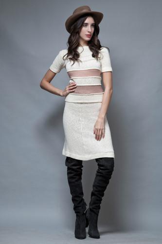 vintage 60s 2-piece sweater skirt set ivory mauve stripes S M
