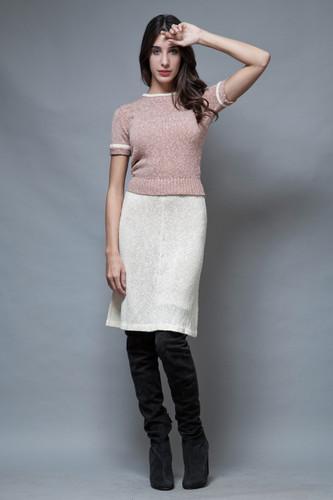 vintage 60s sweater skirt set 2-piece mauve ivory knit S M