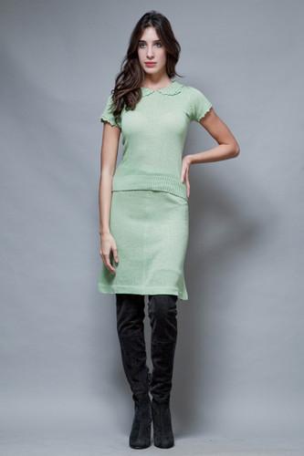 vintage 70s Pierre Balmain sweater skirt set green crochet Peter Pan collar S M