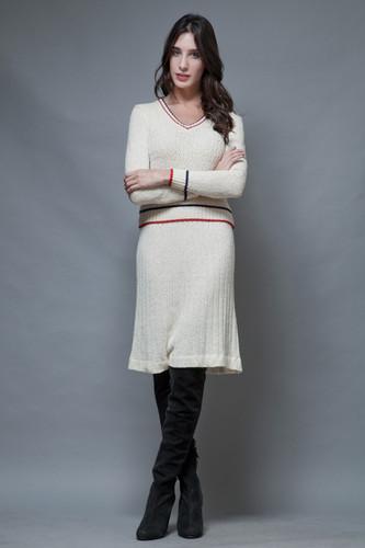 vintage 60s sweater skirt set preppy long sleeves cream red navy S M