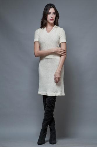 vintage 60s sweater skirt set ivory knit epaulettes collar S M