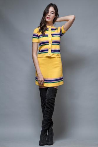 vintage 60s MOD sweater mini skirt set 2-piece yellow stripes XS