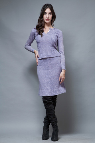 vintage 60s purple sweater skirt set long sleeves cable knit S M