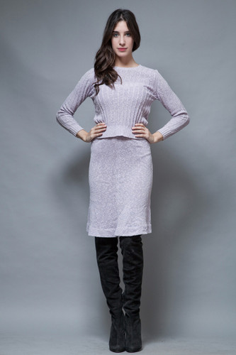 vintage 60s sweater skirt set ribbed knit pale purple lavender long sleeves S M