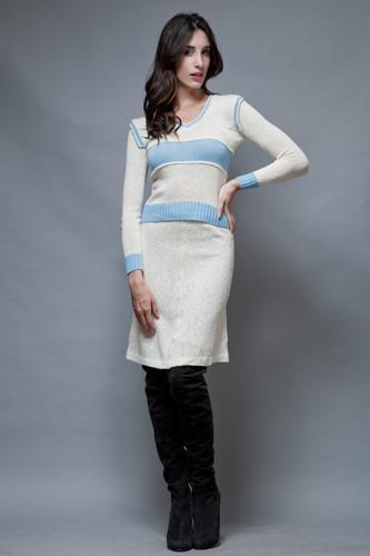 vintage 60s sweater skirt set cream blue long sleeves S M