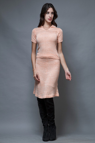 vintage 60s sweater skirt set peach pink eyelet a-line short sleeves S M