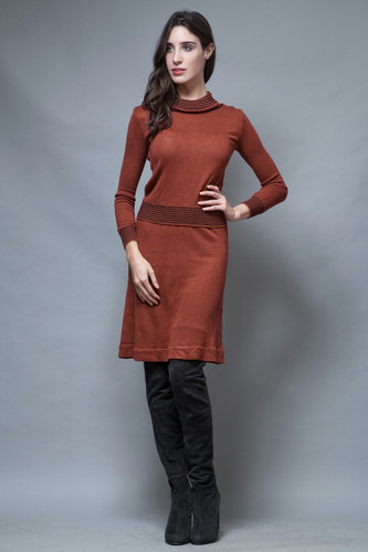 vintage 60s sweater skirt set turtle neck brown long sleeves S M