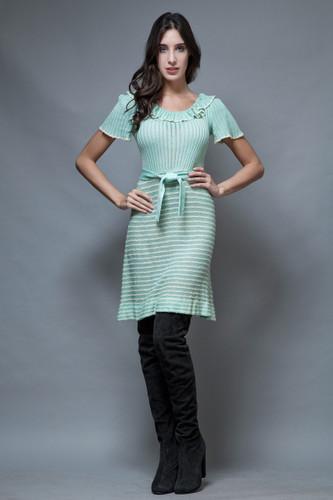 vintage 70s sweater dress seafoam green ruffles stripes ONE SIZE