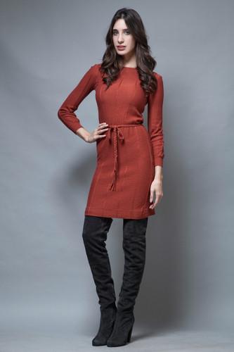 vintage 70s LANVIN sweater dress brick reddish brown S M