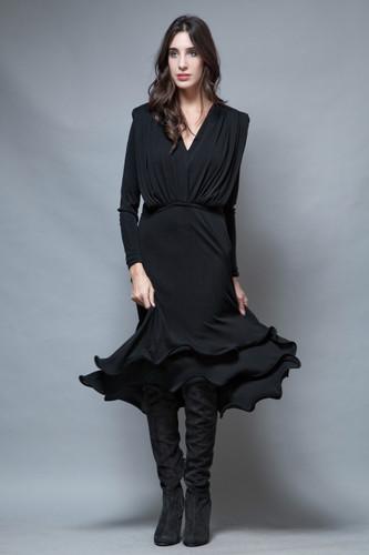 vintage 80s party black dress wired hem curly flouncy skirt long sleeves L
