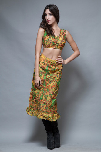 vintage ethnic African skirt crop top outfit yellow batik cotton S M