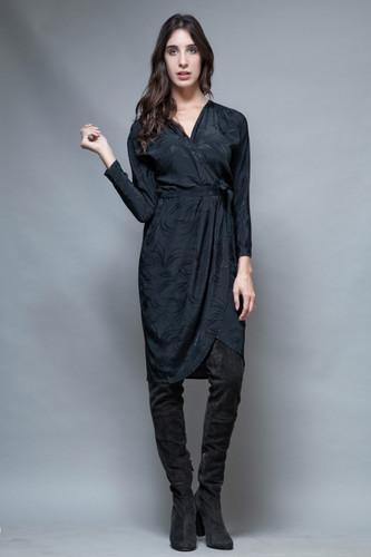 vintage 80s little black wrap dress silky flowy long sleeves  jacquard M L