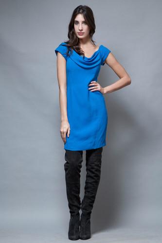 vintage 90s Nicole Miller Ann Taylor mini dress blue cowl neck M