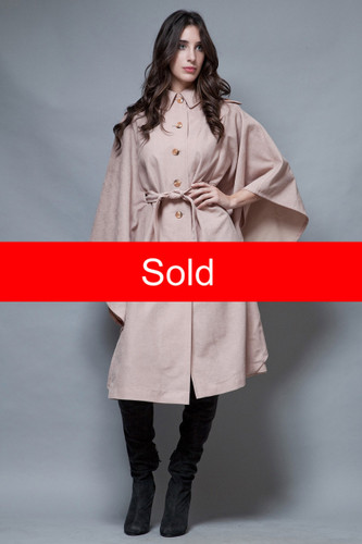 vintage 70s cape coat mauve pink belted long cascading ONE SIZE  :