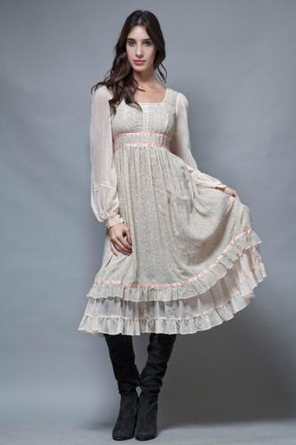 vintage 70s empire dress Gunne Sax gauzy gauze cotton floral pintuck ruffles prairie S