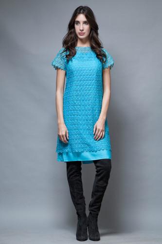 vintage 50s shift dress scallop lace blue short sleeves M L