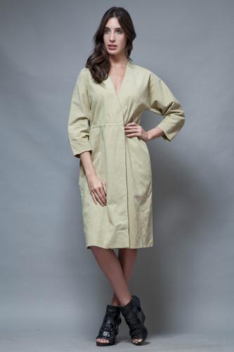vintage 70s HALSTON microsuede coat wrap dress muted green light khaki minimalist ONE SIZE