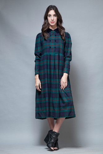 vintage 80s Laura Ashley plaid maxi dress navy green wool cotton L