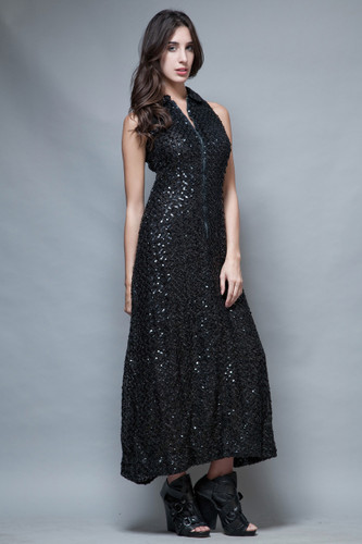 vintage 80s party dress gown long maxi black sequins sleeveless Peter Pan Collar M