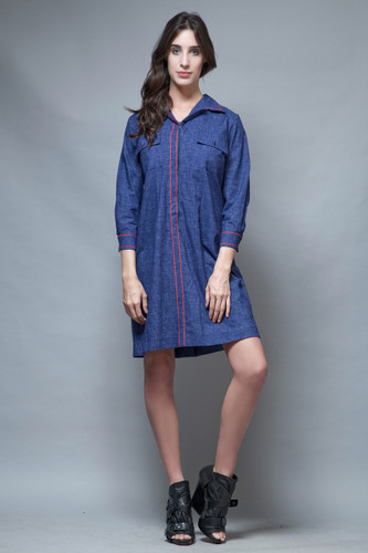 vintage 60s dress shirtdress chambray navy cotton red trims long sleeves XL 1X