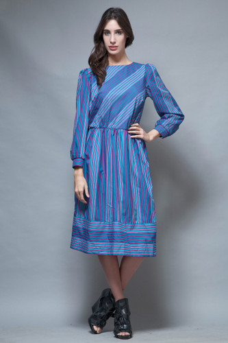 vintage 70s secretary dress blue pink stripes long puff sleeves L XL 1X