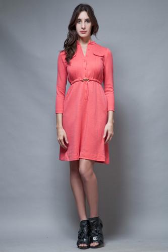 vintage 70s wool knit dress coral pink orange long sleeves S M Petite