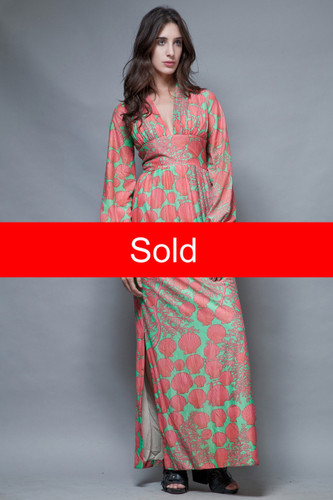 vintage 70s maxi dress party goddess shell coral pink green metallic S M