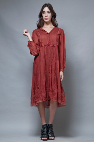 vintage 70s gauzy gauze cotton dress reddish brown India hippie boho M L