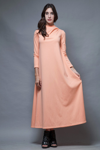 vintage 70s maxi dress peach orange draped neck long sleeves minimalist M L