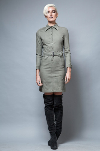 vintage dress military inspired olive green bodycon long sleeves XS S  :