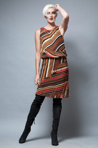 vintage dress brown abstract stripes sleeveless M  :