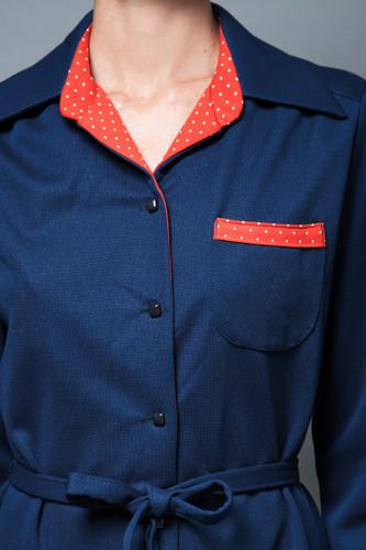 vintage 70s day dress shirtdress navy blue red polka dot plus size XL 1X  :