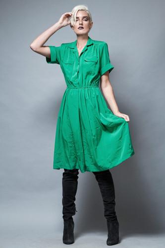 vintage 1980s green dress short sleeves plus size L XL 1X  :
