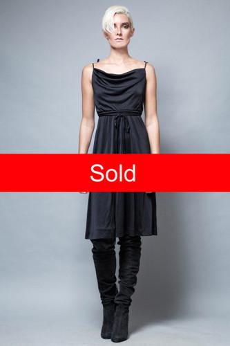Little black dress slinky cowl neck vintage 1970s S M  :